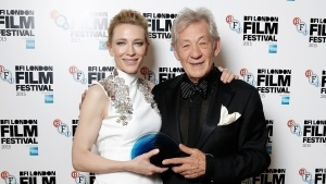Presenter Sir Ian McKellen poses with the winner of the BFI Fellowship Award actress Cate Blanchett both proud owners of my jewellery