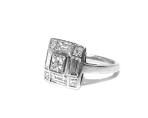 Bespoke Baguette and Princess Cut Diamond Ring. Handmade by Kimberley