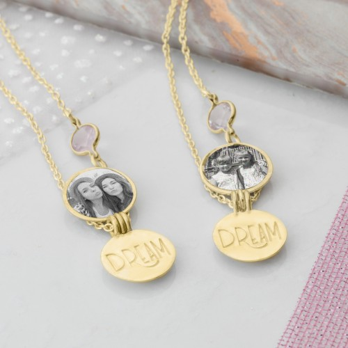 Yellow Gold locket necklace for your sister