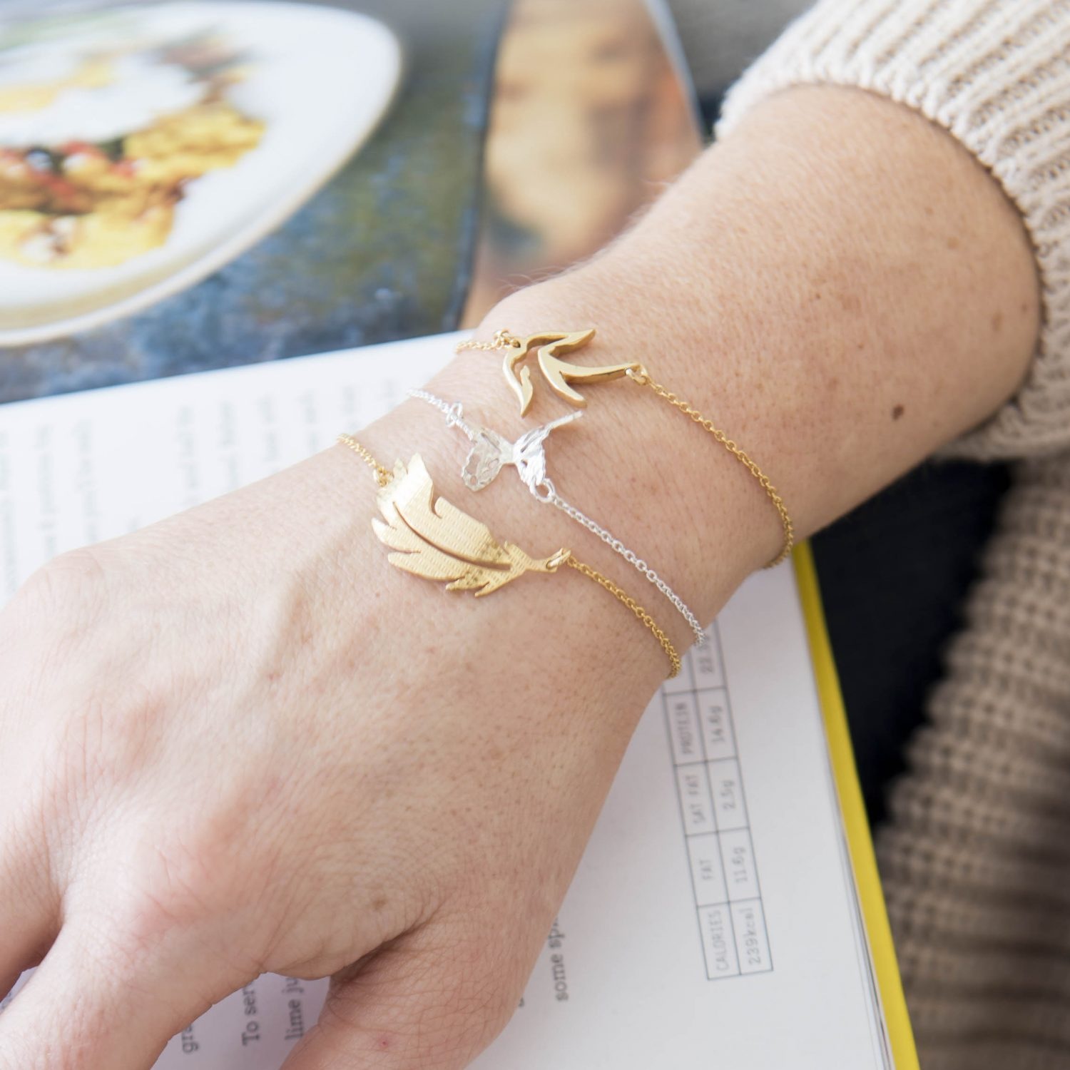 Layered small bird bracelet