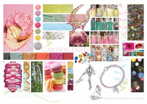 Freelance Jewellery Design board for floral jewellery range by Kimberley Selwood