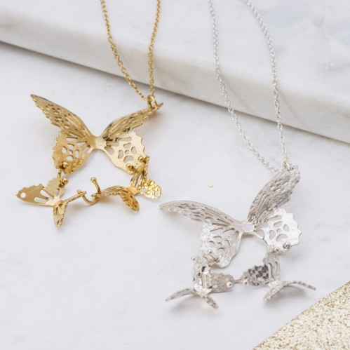 Gold and Silver Triple Butterfly necklaces