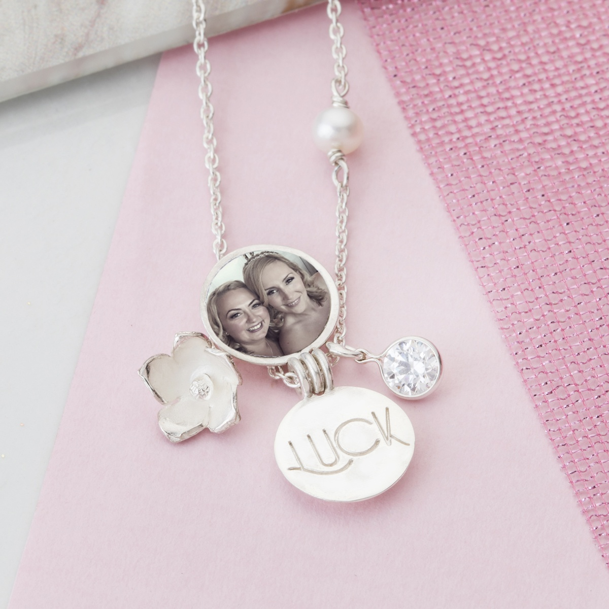 Handmade good luck charm locket necklace a thoughtful gift for women good luck charm necklace wishes of luck and happiness to the wearer aloadofball Gallery