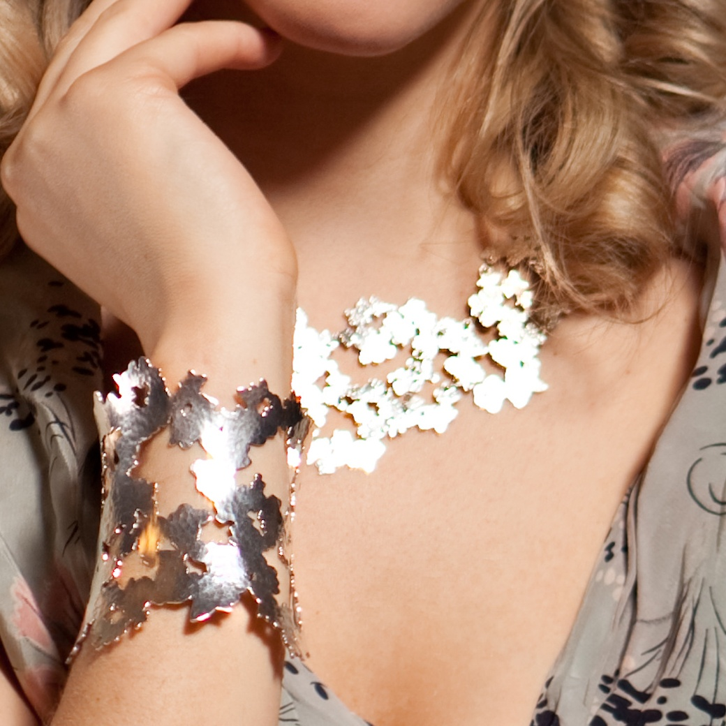 Hammered Lace Cuff in silver