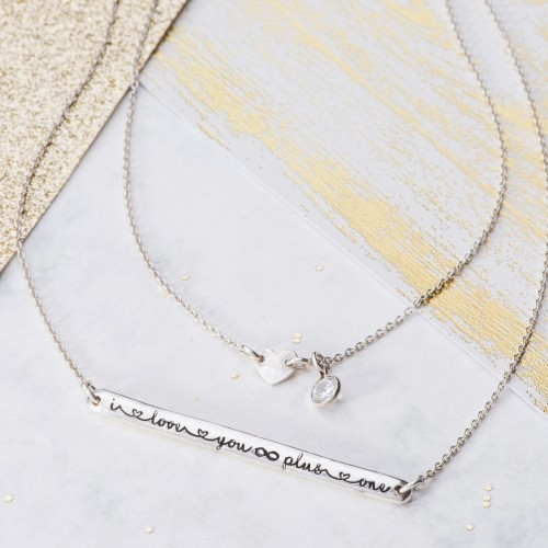 sentimental silver double row necklace I love you infinity plus one