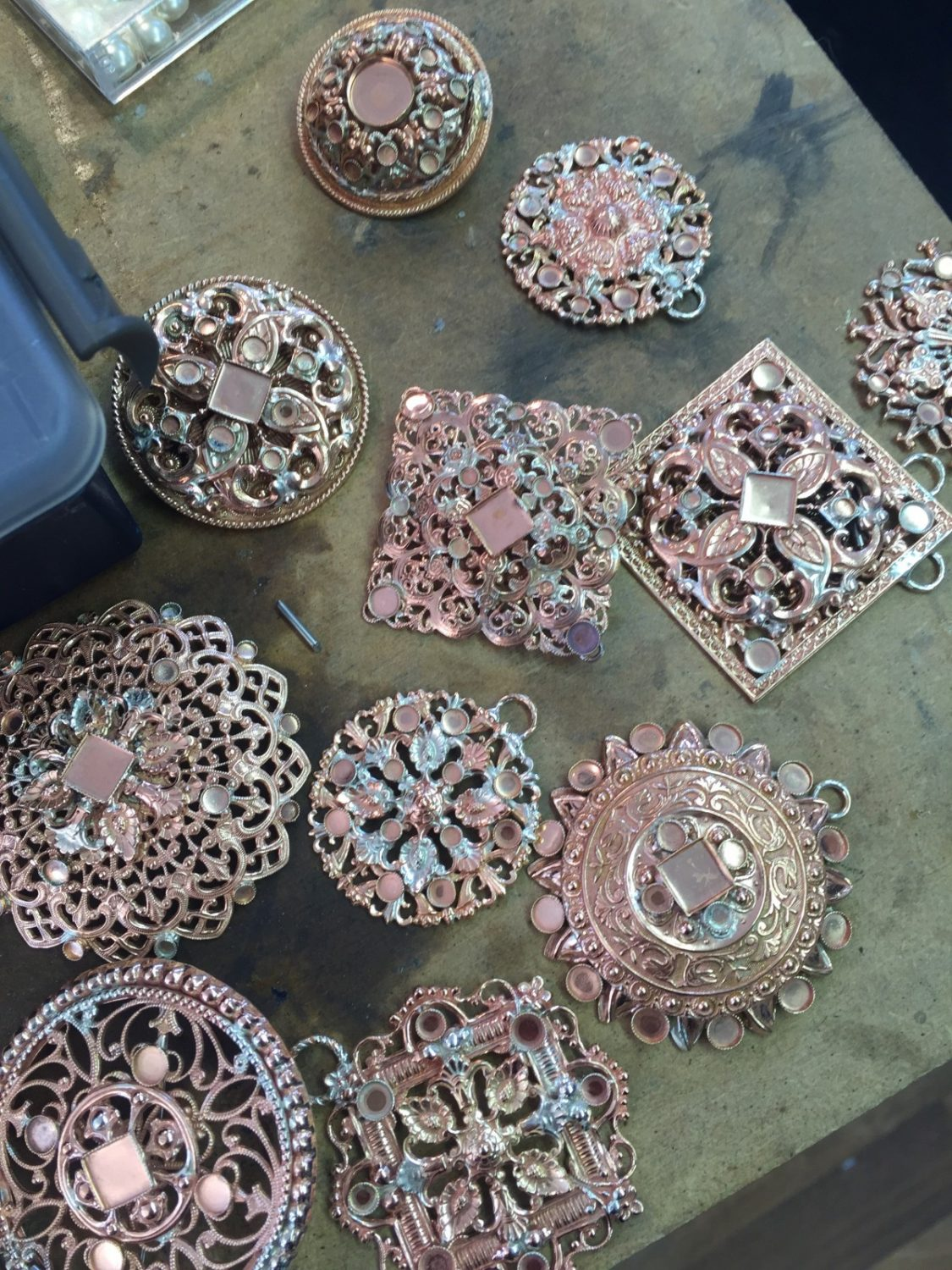 Close ups of the brooches