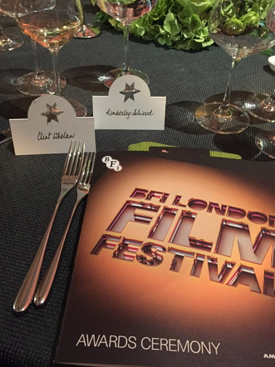 Place setting at the BFI awards with Cate Blanchett