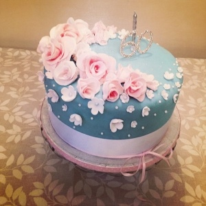 Handmade Cake with Flowers and Roses, in pale pink, pale blue and white