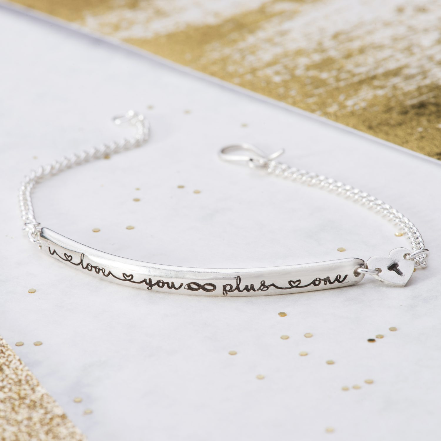 I love you Infinity plus one silver keepsake bracelet