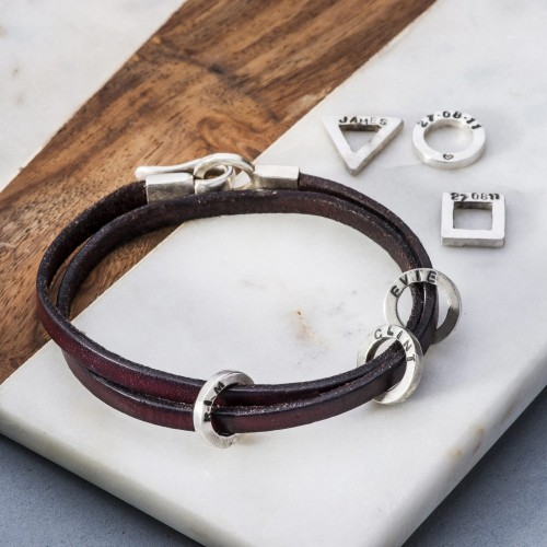 Leather and silver men's bracelet with charms