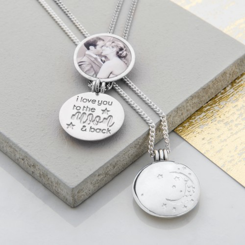 Silver I love you to the moon and back lockets