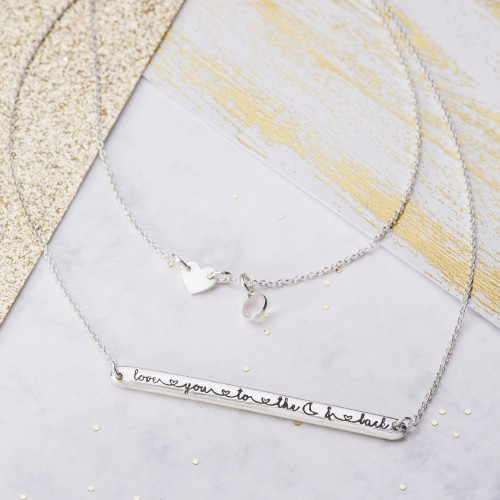 Love you to the moon and back silver layered necklace