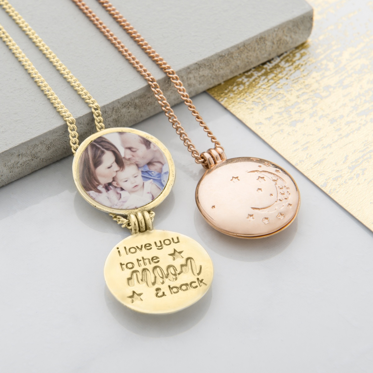 Rose and yellow gold I love you to the moon and back locket necklaces