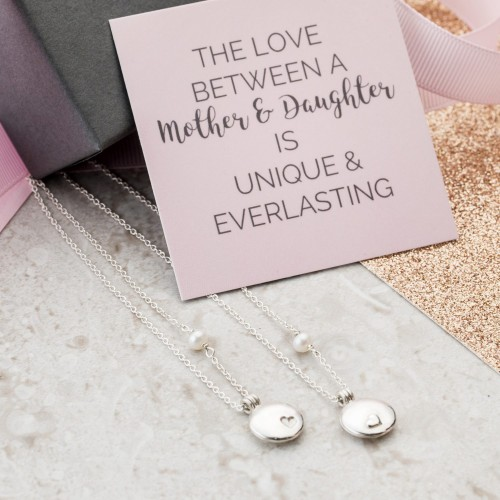 Mother and Daughter locket set with photo and gift card quote