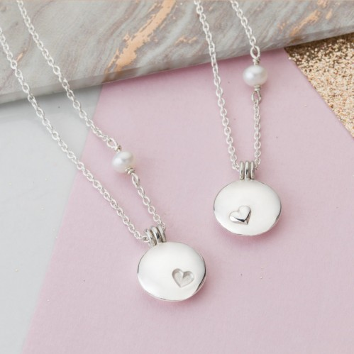 Silver Mother and Daughter Locket set
