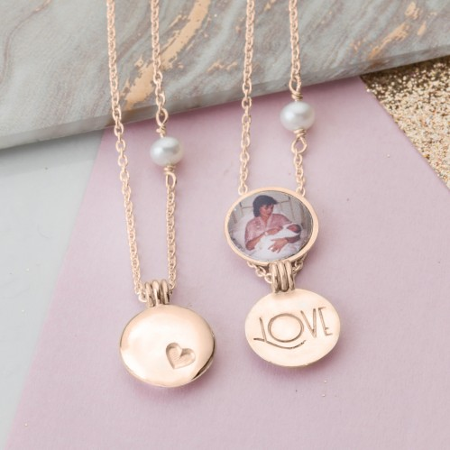 Rose Gold Mother and Daughter Locket set with photo