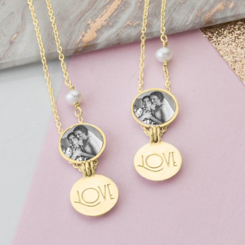 Gold Mother and Daughther locket set gift
