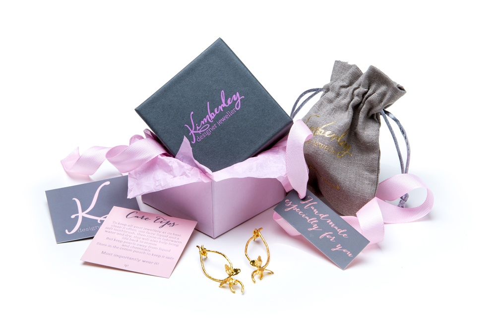 Gorgeous new packaging for handmade jewellery, with care card, pouch, cleaning cloth. handmade especially for you
