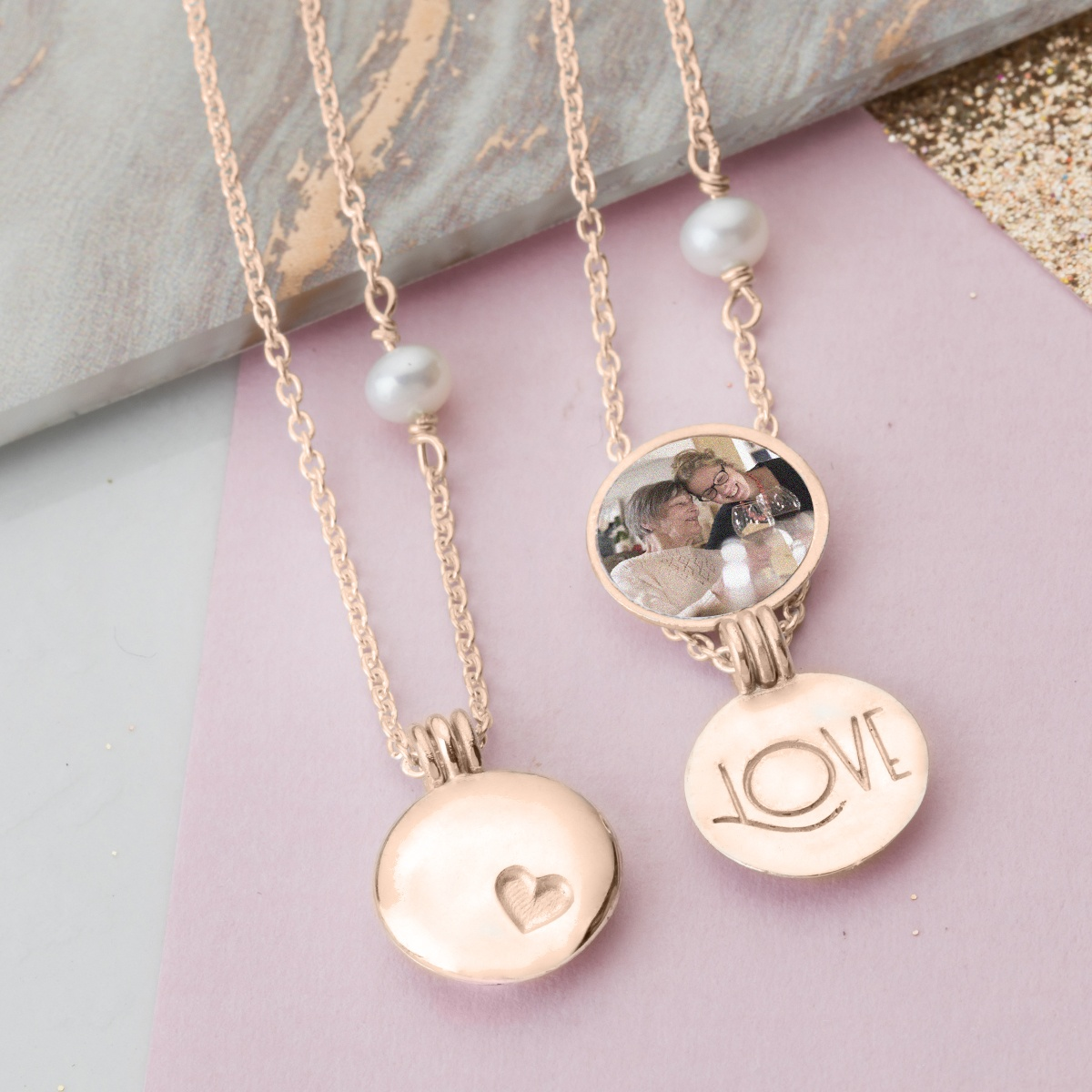 Locket set with photo for Mother and Daughter