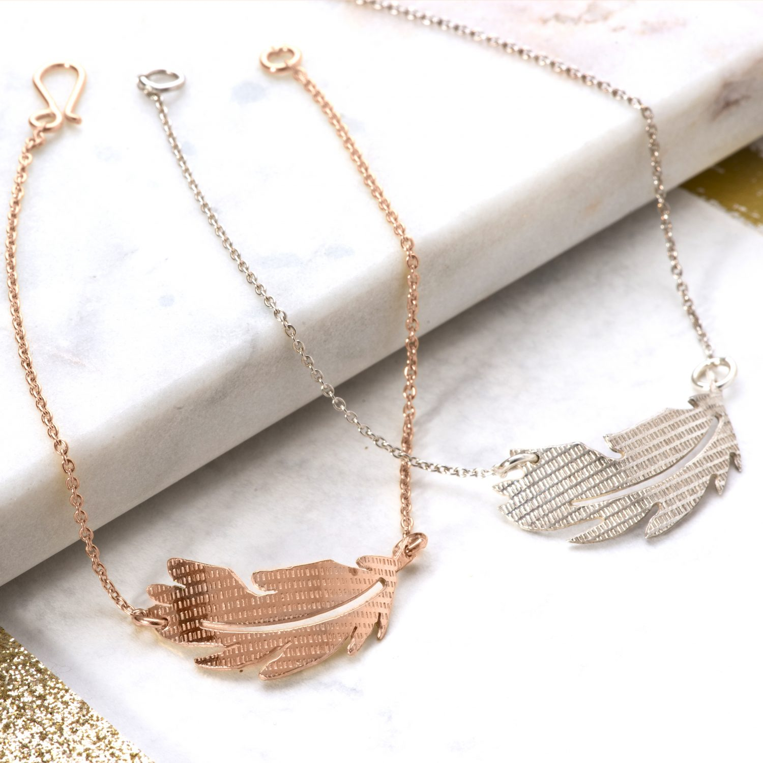 Rose Gold and Silver Feather bracelets