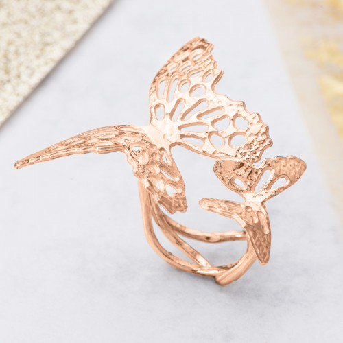 Rose Gold butterfly ring with two butterflies