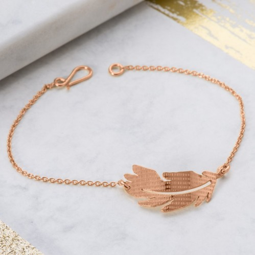 Rose Gold textured feather bracelet