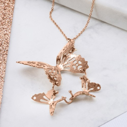 Rose Gold triple butterfly necklace
