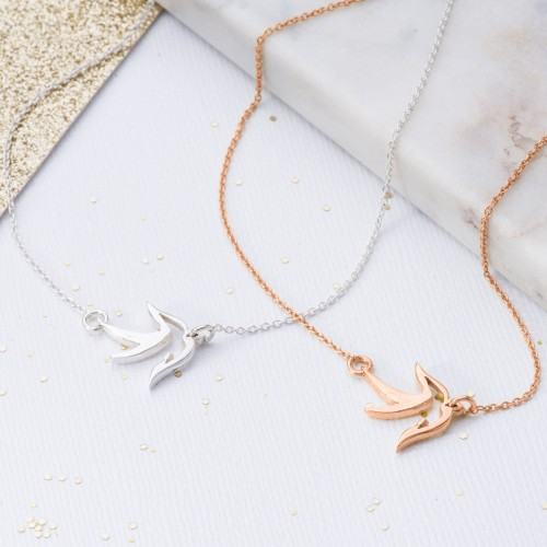 Rose gold and silver little bird pendant
