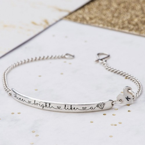 Positive inspirational message bracelet - Shine Bright Like a Diamond