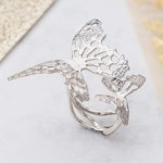 Silver Textured double butterfly ring