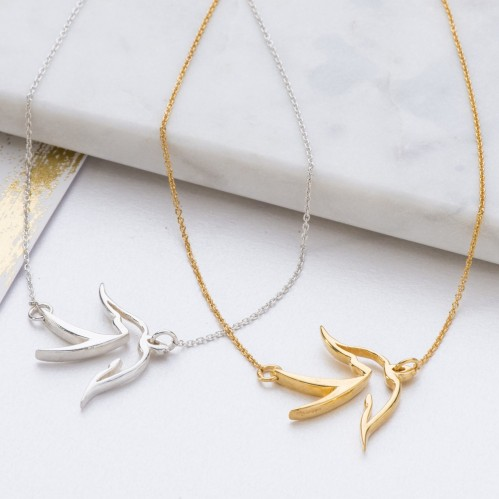 Silver and Gold Large bird pendant