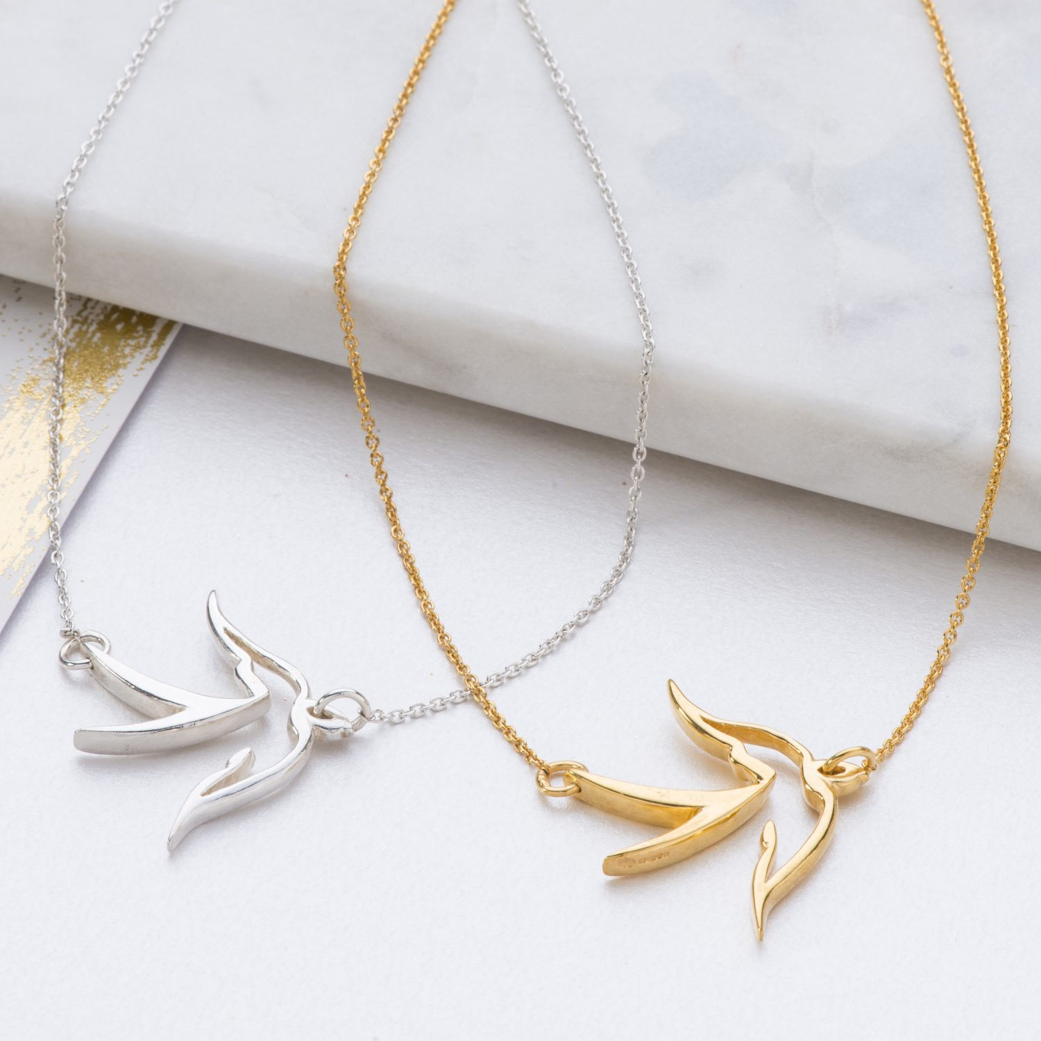 Large bird pendant handmade in silver or gold plate by kimberley selwood silver and gold large bird pendant mozeypictures Choice Image