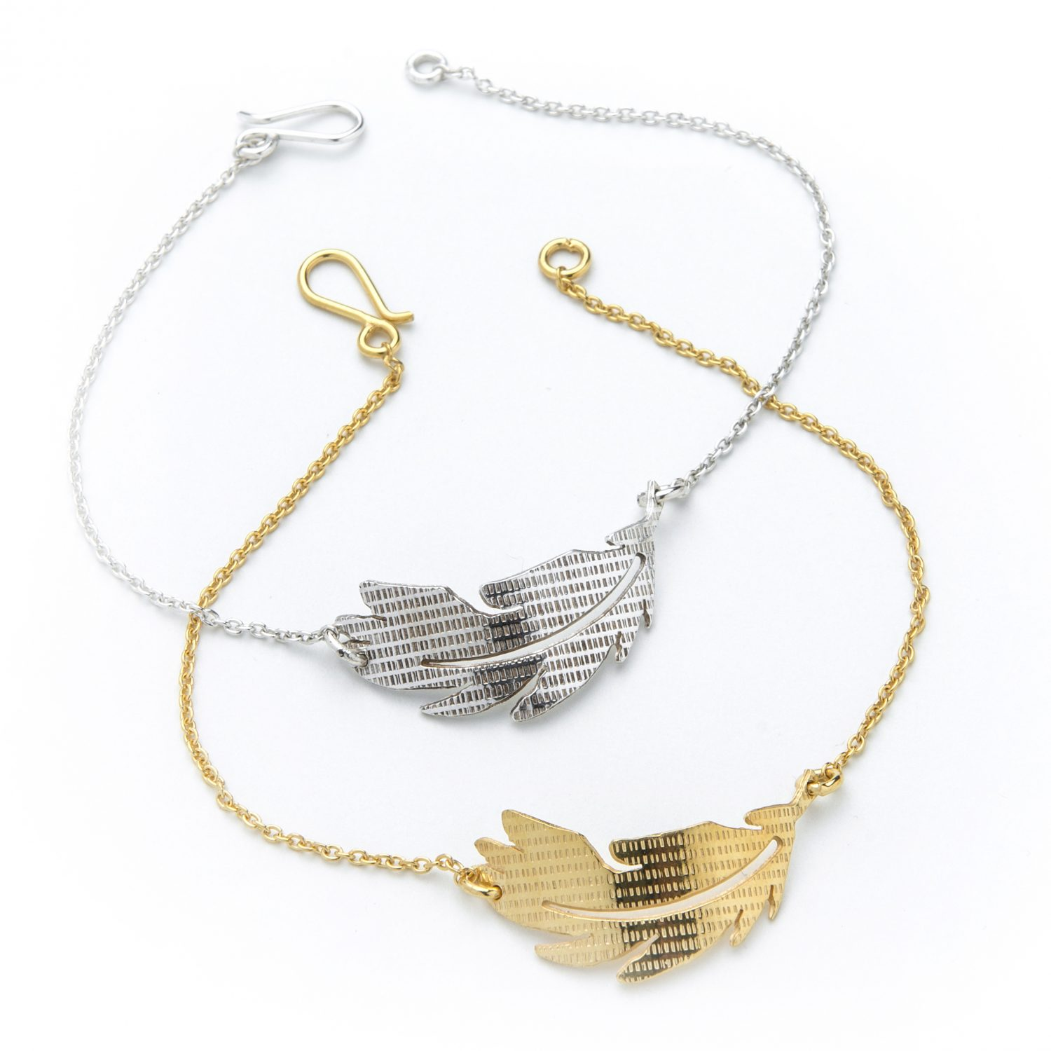 Silver and Gold textured feather bracelet