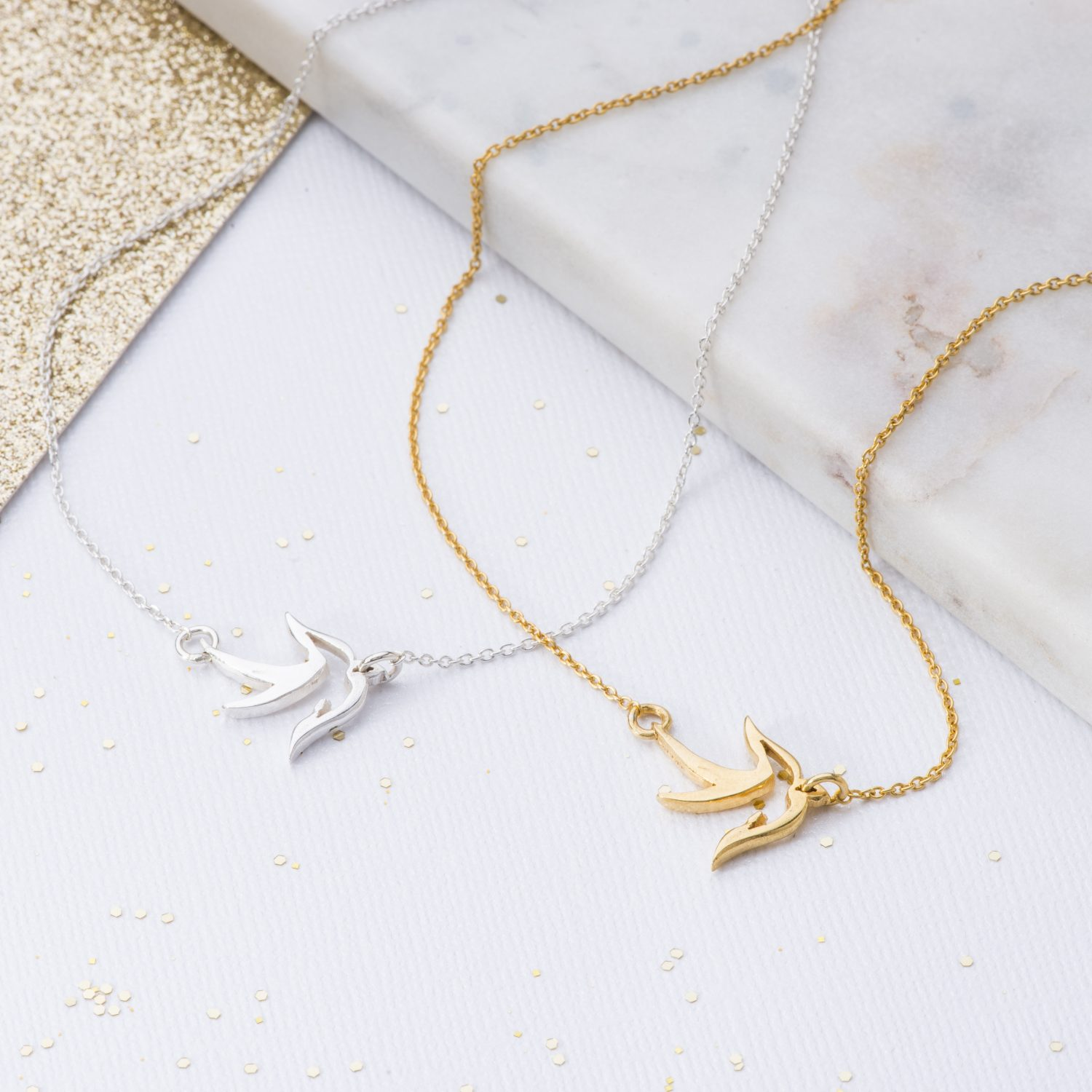 Silver and Gold little bird pendant