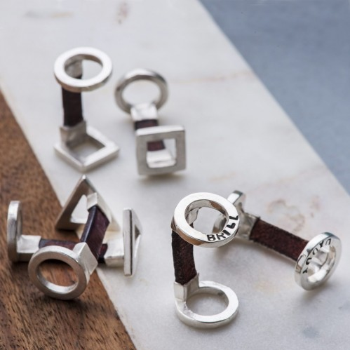 Personalised geometric silver and Leather cufflinks