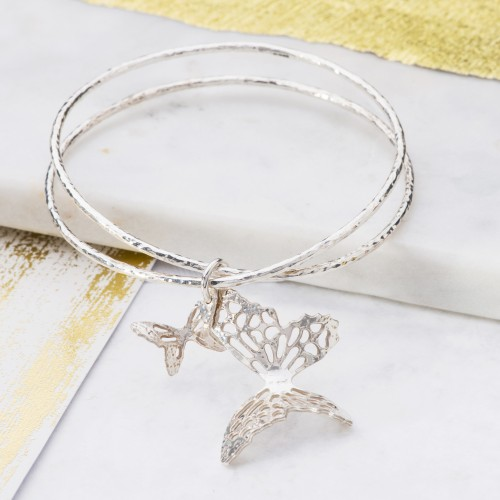 Silver butterfly bangle with butterfly charms