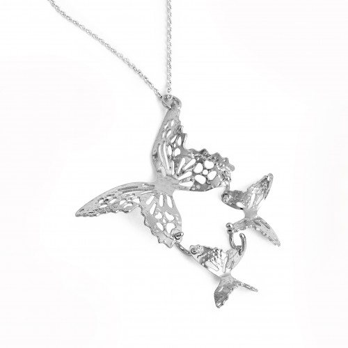 Silver triple butterfly necklace with three butterflies