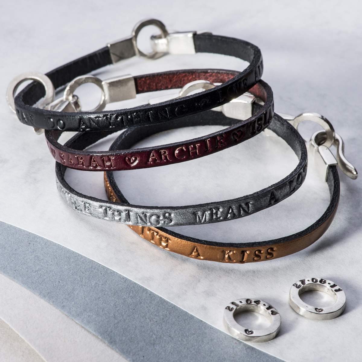 personalised product leather soremi lettering original hoop bottom bracelets and top options pink jewellery bracelet to white hoops by oxidised