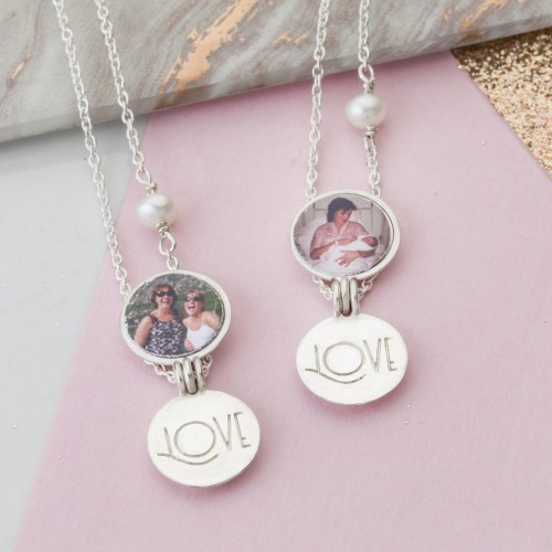 Silver locket set with photo for mother and daughter gift