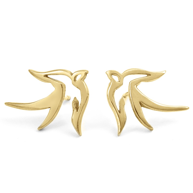 Yellow gold bird earrings