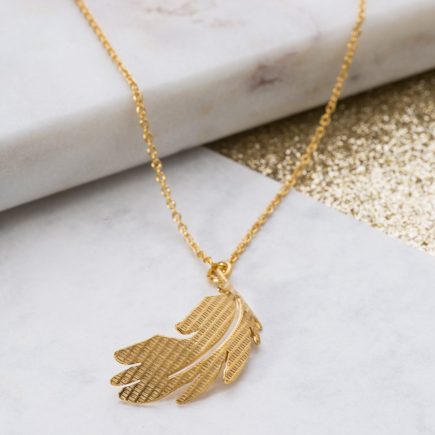 Yellow Gold Texture feather pendant
