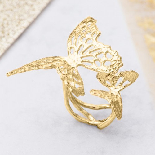 Yellow gold double butterfly ring