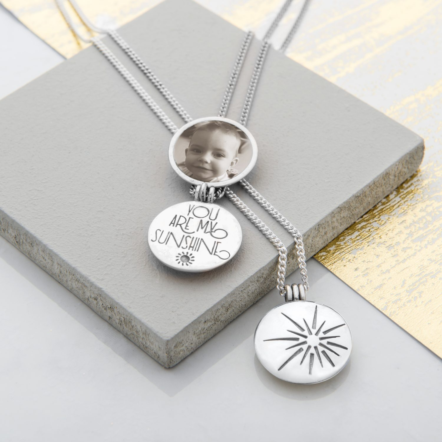 You are my sunshine handmade silver locket necklace