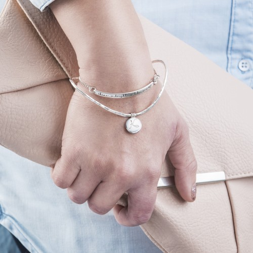 Curved Bangle with Mini Locket