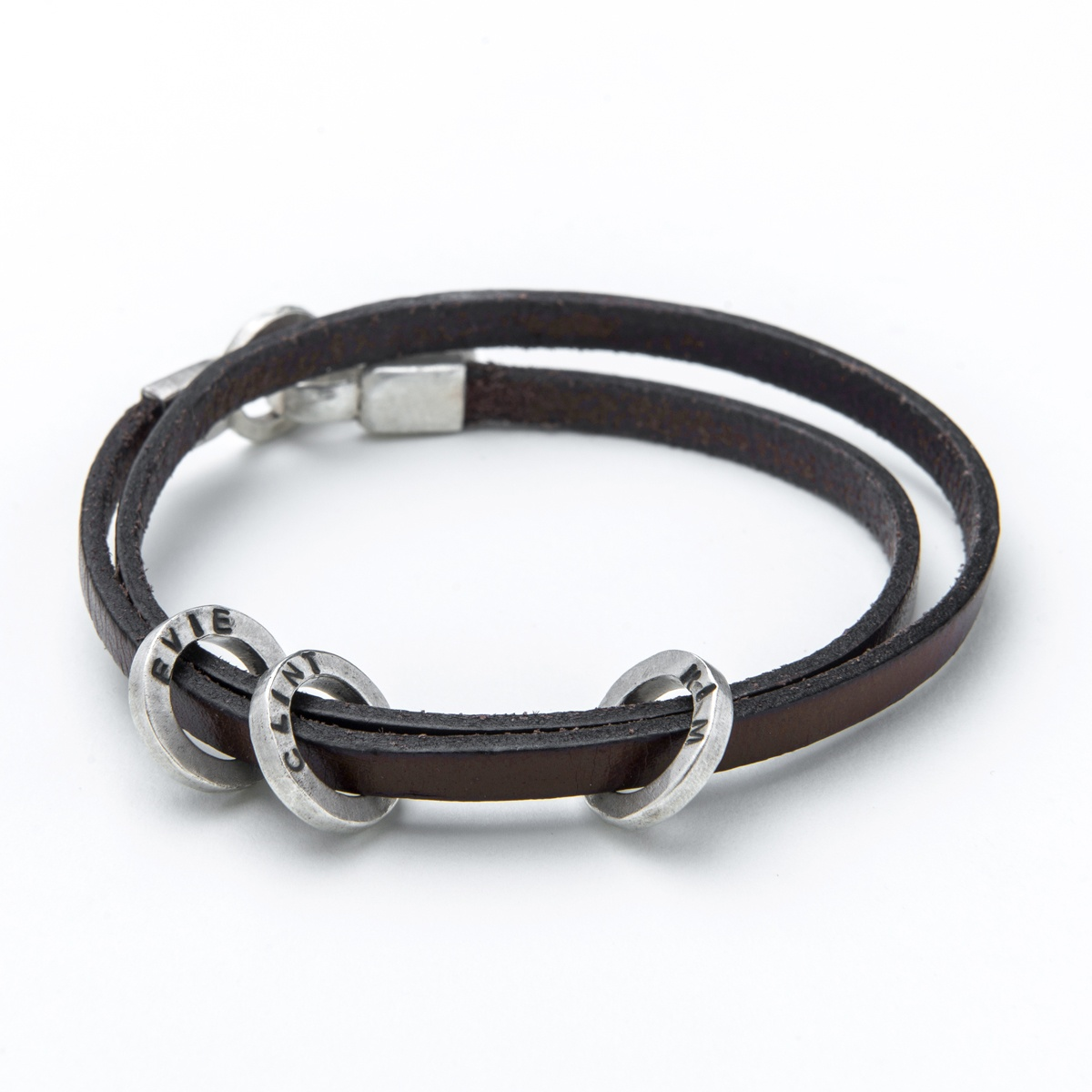 Leather Bracelet With Charms: Leather And Silver Mens Bracelet With 3 Charms To Add