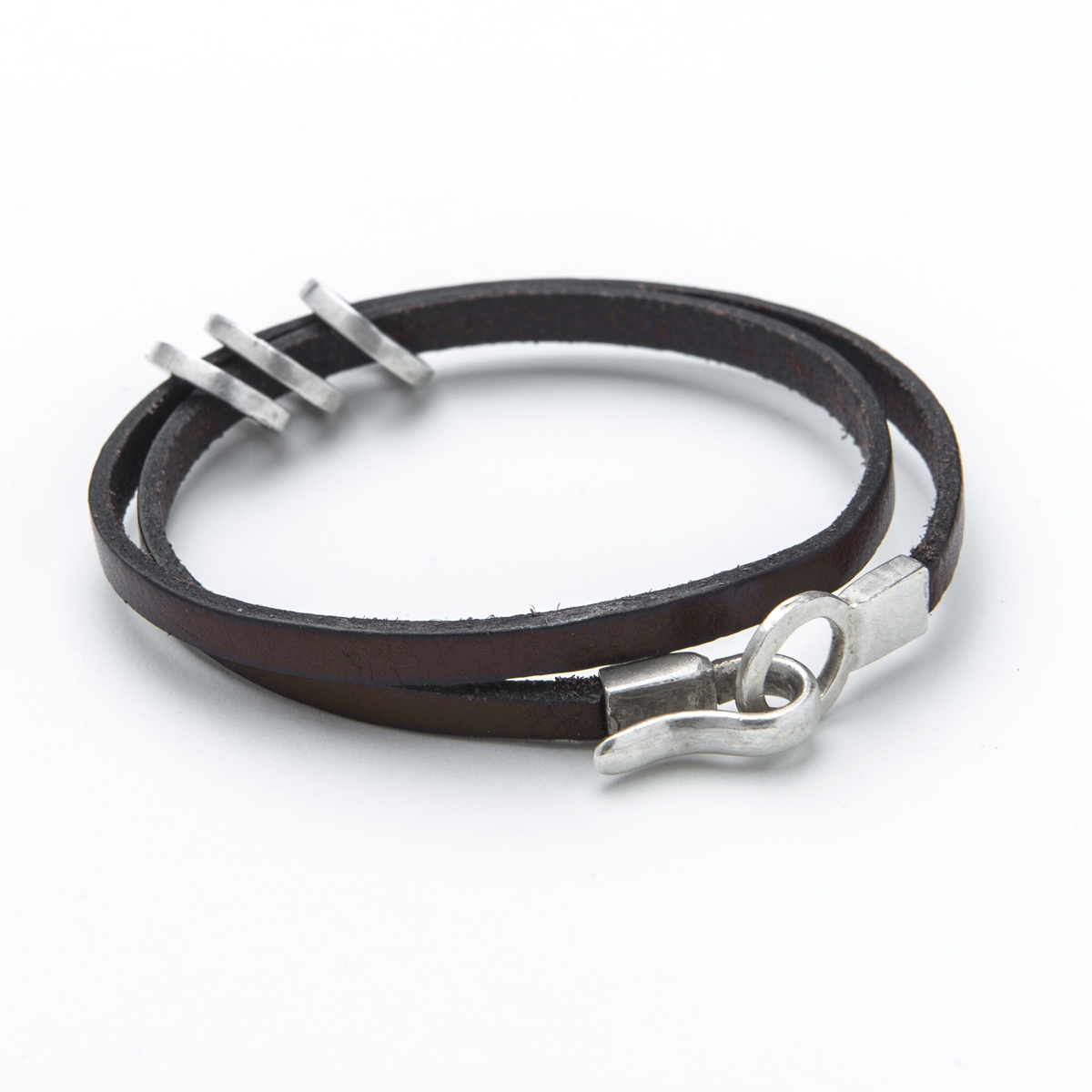 leather and Silver Men's bracelet Can be personalised with words of your choosing. the perfect gift for the man in your life.