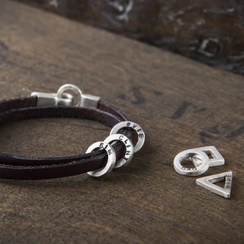 Leather and silver mens bracelet