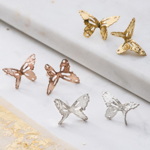 silver, rose gold and yellow gold little butterfly stud earrings