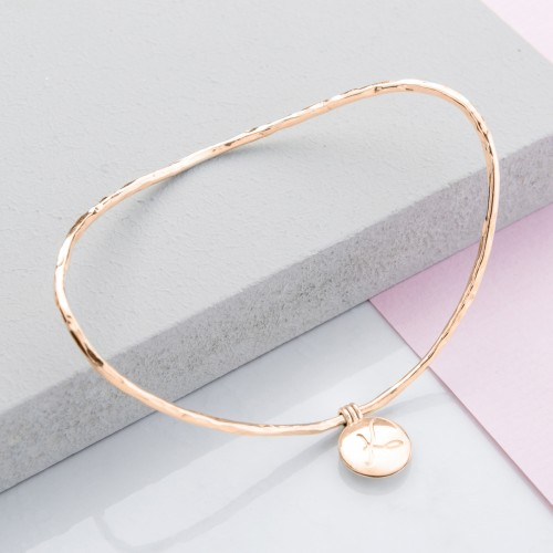 Initial Locket Bangle. Lifts to reveal hidden positive word and photo.