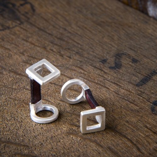 Handmade Silver and Leather Cufflinks with Square and Circle